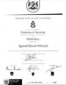 Reginald Ricardo Paulse Certificate