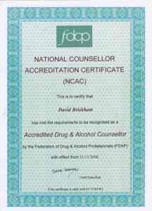 David Briskham NCAC Certificate