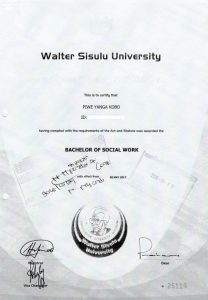 Piwe Certificate Walter Sisulu University