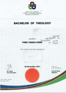 Piwe Certificate Bachelor of Theology