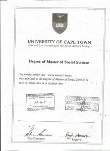 Teresa Angless Masters of Social Science Degree
