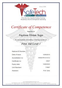 Vivian Xego First Aid Certificate