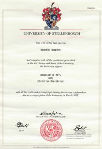 Richard Saunders University Degree