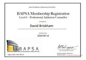 David Briskham BAPSA Certificate