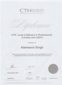 Aishwaria Singh Chef Certificate