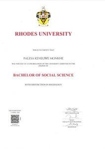 Palesa Keneuwe Monkhe Certificate