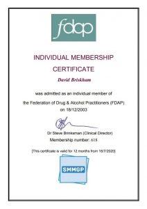 FDAP Certificate David Briskham